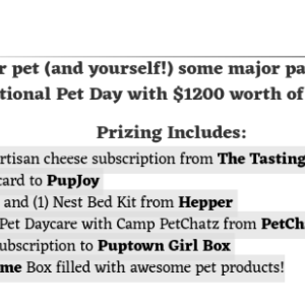 Win $1,200 Worth Of Pampering For You & Your Pet