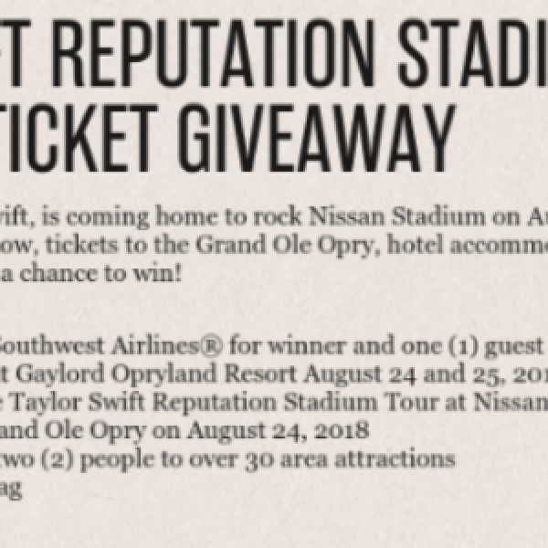 Win Tickets & Trip to See Taylor Swift in Concert - Sweeps