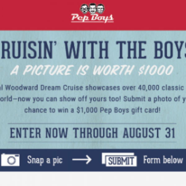Win a $1,000 Pep Boys Gift Card